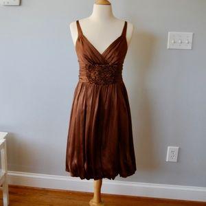 BCBG Brown Bubble Hem Cocktail Dress